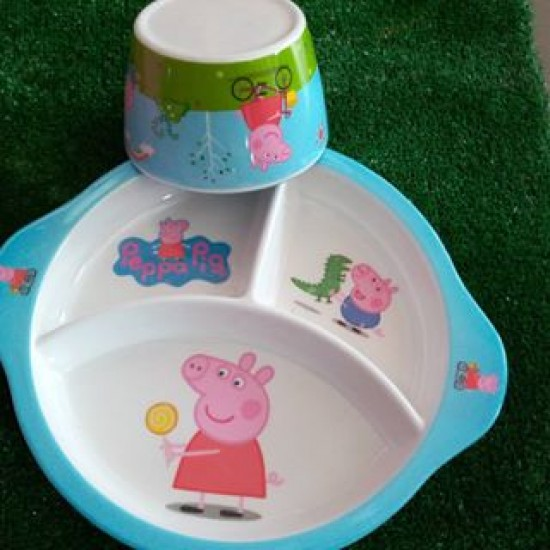 Section Plate and Bowl set- Peppa pig, Hello Kitty