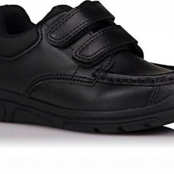 Asda George Boys Black Wide Fit 2 Strap School Shoes