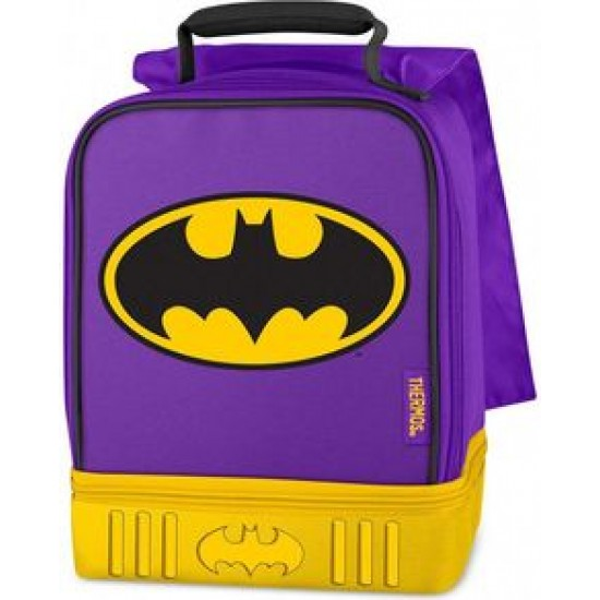 Thermos DC Batgirl Dual Zippered Compartment Lunch Bag Kit with Cape