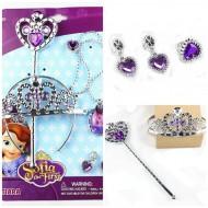 Princess Sofia 6pcs Costume Jewelry Set- Crown, Wand, Earrings, Ring, Neckpiece