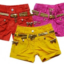 Girls Fashion bling Shorts with belt- 3 colours- 6mths-4years