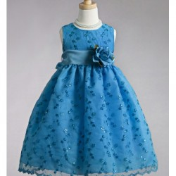 Crayon Kids Eyelet Sequin Tea length dress with Corsage Ribbon-  Blue- 4T