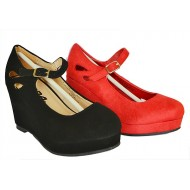 SODA Girls Wedge Shoes- Black, Red (30-35)