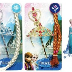 Frozen Deluxe Costume Accessories Crown + Hairpiece +Magic Wand -3 in 1 set (Anna/Elsa)