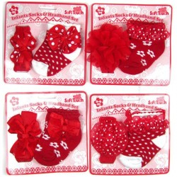 SOFT TOUCH BABY GIRL PARTY HEADBAND AND SOCKS - assorted designs