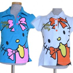 Hello Kitty Girls polo Tee- Bow- 2-8yrs