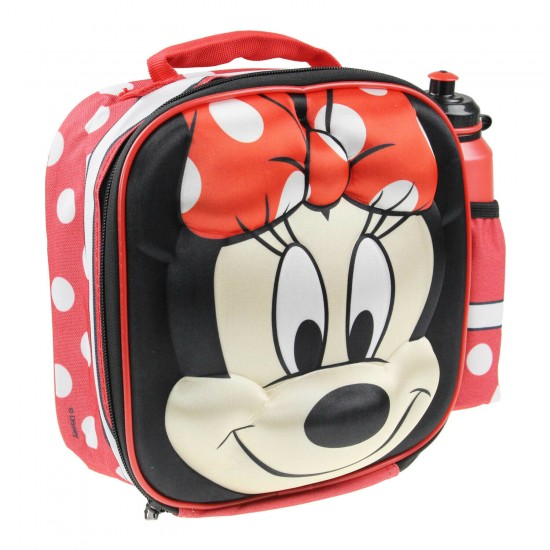 Disney Minnie Mouse Childrens Thermal 3d School Lunch Bag  with bottle