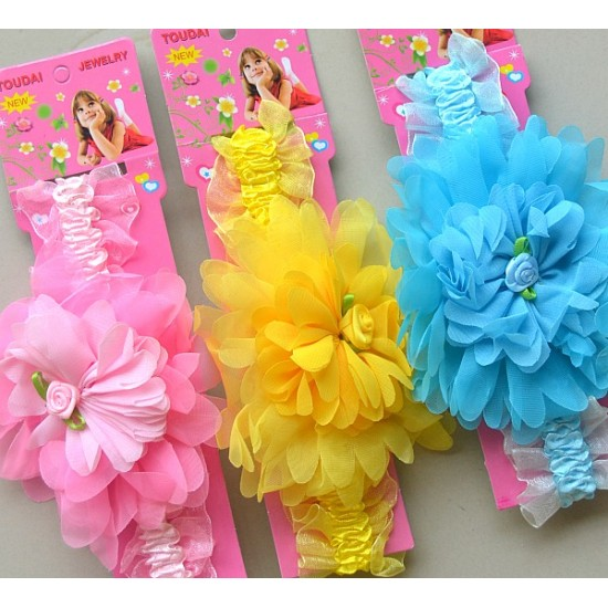 Baby Girl Floral Elastic Headbands- assorted colours