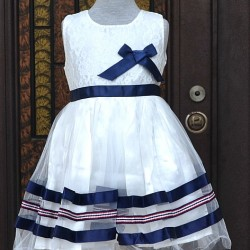 Mothercare Girls Blue & White Ribbon Party Dress- 3-4yrs