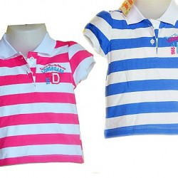 Baby Girls Striped Polo tees- 6mths-12mths