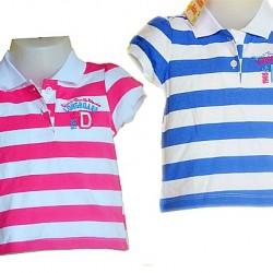 4e375d82bd6c Baby Girls Striped Polo tees- 6mths-12mths