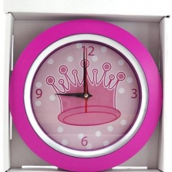 Pink Princess Crown Wall Clock Round 9.5inches