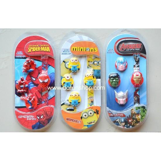 Cartoon Kids Interchangeable LCD watch- Minions, Spiderman, Avengers