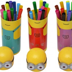 12 Colour Pens Set in Minions Shaped Box- pack of 6