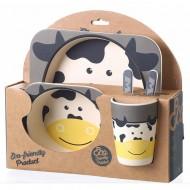 Bamboo Fiber Animal Tableware 5-Piece Baby Feeding Set - assorted designs