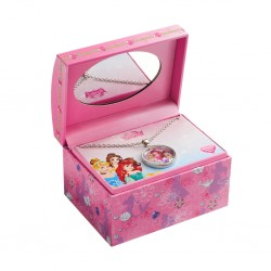 Disney Princess Girls Floating Charm Pendant & Keepsake Jewelry Box Set