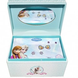 Disney Frozen 3 stud Earrings + Keepsake Mirror Jewelry Box Set
