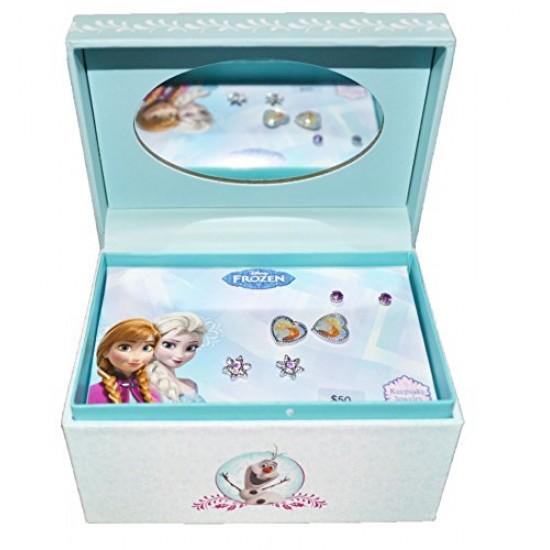 Disney Frozen 3 stud Earrings + Keepsake Mirror Jewelry Box Set