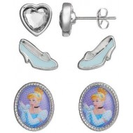 Disney Cinderella Fashion Earring Set with Jewelry Box, 3 Piece
