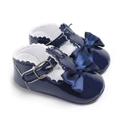 Baby Girl Patent Blue Mary Jane Bowknot Shoes- 0-12mths