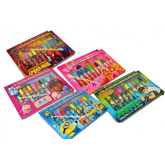 12 Colour pen & Colouring Book Set- assorted characters