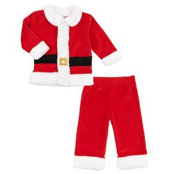 Koala Kids Baby Boys 2 Piece Velour Red Santa Suit Set Christmas Outfit (3mths- 12mths)