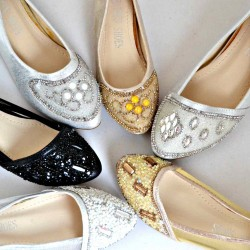 Girls Embellished Dressy Flats- Size 24-35 (Gold, Silver, Black) assorted designs