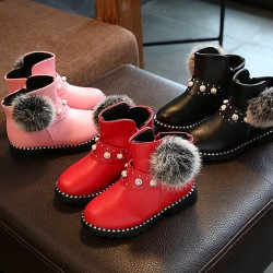 Girls pearl Fur Boots (27, 28, 29)- Red & Black