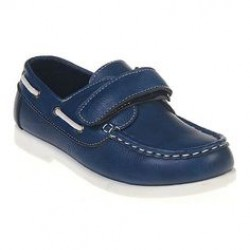 Jelly Beans Boys Leatherette Velcro Strap Moccasin - Blue- US size 13, 1