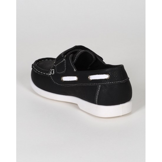 Jelly Beans Boys Aaronsion Leatherette Strap Moccasin- US 11, 2, 3- Black
