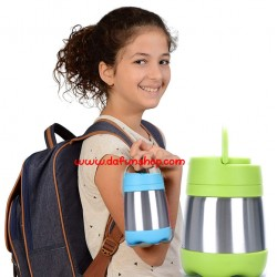 Kids Insulated Hot or Cold Food Vacuum Flask with Folded Spoon- Pink & Blue colour