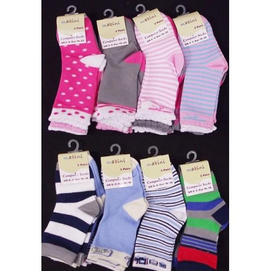 Mabini 3pk Computer Socks -boys & girls- UK size 0-2, 3-5