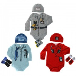 BABY BOYS'S 3 PIECE GIFT SET BY SOFT TOUCH - 3 DESIGNS