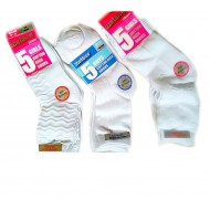 Outdoor 5pack Boys & Girls Combed White Cotton Socks (3-6yrs, 7-10yrs)