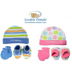 Luvable Friends Cap, Mittens, Booties set (Baby boy & baby girl)