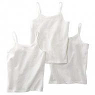POOL Kids Solid White Sleeveless Ribbed Cami Vest (1-4yrs)