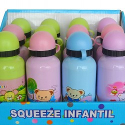 Kids Cartoon Aluminium Drink Bottles- assorted colours