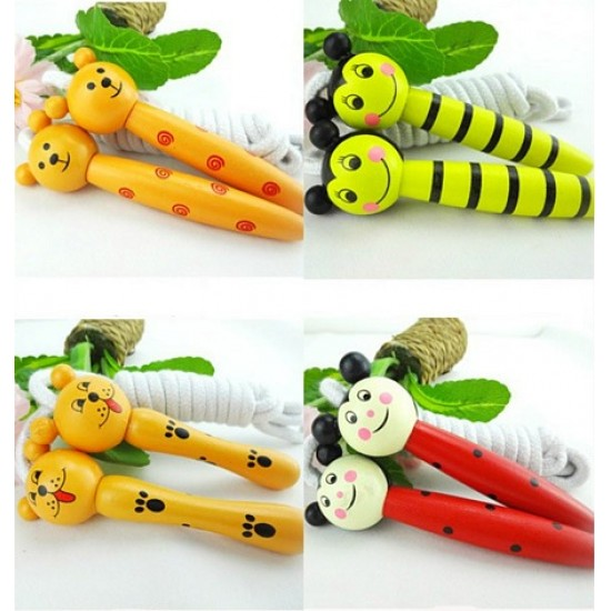 Cartoon Animal Wooden Skipping Rope- assorted