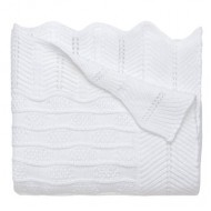 Baby White Knit Wool Christening Shawl