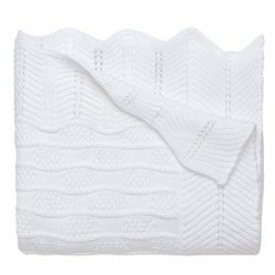 Baby White Knit Wool Christening Shawl