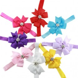 Baby Girl Bow Rhinestone Elastic Headbands