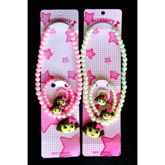 Dora Girls Bead Set- Necklace, Bracelet & Ring