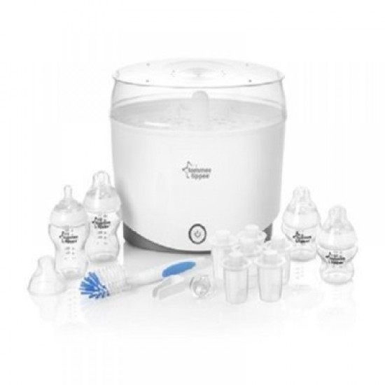 Tommee Tippee Electric Steam Sterilizer Kit (with 4 feeding bottles, 6 milk powder dispensers, 1 bottle brush, 1 soother and 1 teat tong)