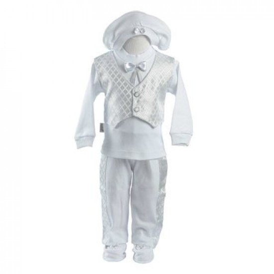 Baby Boy's 7pc Box set Christening Outfit (0-4 Months)- Made in turkey