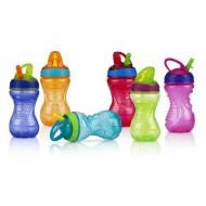 Nuby Flip it Straw Drink Bottle- 12mths+- assported colours