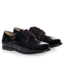 KEDDO Boys Black Patent Leather Lace-Up Brogues- EUR Size 36