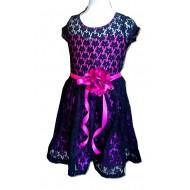 Kidz Winc Black & Pink lace Overlay Dress with Ribbon Flower Sash (8yrs)
