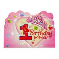1st Birthday Princess Party Invitations with Envelopes- 6pack