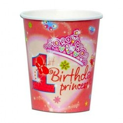 1st Birthday Princess Paper Cups, Pack of 6