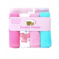 LUVABLE FRIENDS 4 PACK WASHCLOTH SET (10INCHES)